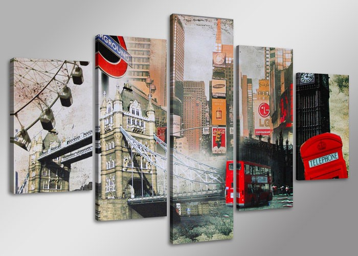 Cuadro collage Londres 160 cm x 80 cm