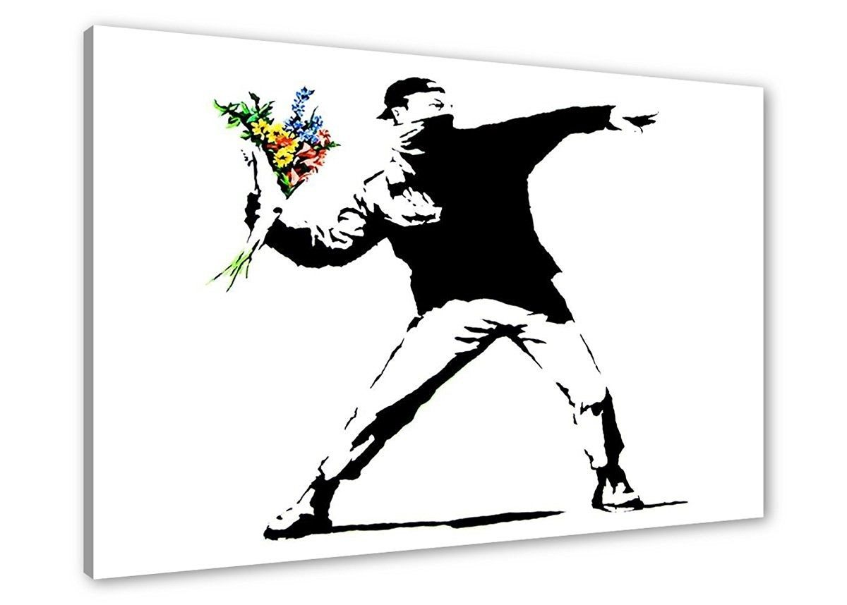Cuadros de Bansky Black and White man 80 x 60 cm